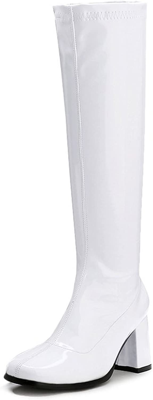 LIURUIJIA Women's Go Go Boots Over The Knee Block Heel Zipper Boot