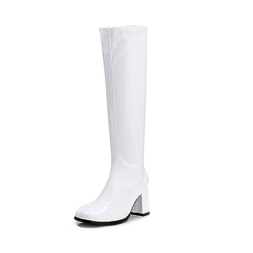 709f6982556 LIURUIJIA Women's Go Go Boots Over The Knee Block Heel Zipper Boot