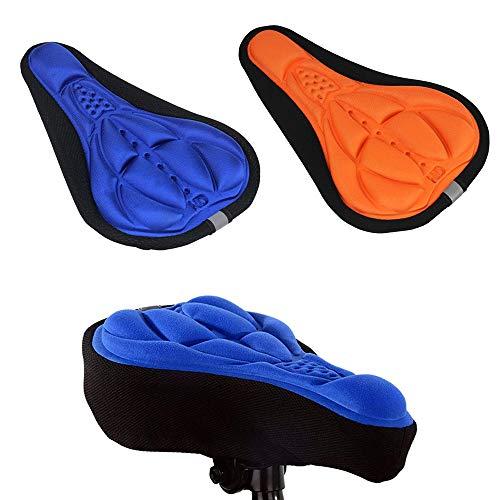 2 Pezzi Coprisedili per Biciclette, Copridischiera per Bici 3D Addensati,Cuscino per Uomo Donna, Accessori per Attrezzature per Biciclette, Coprisedili per Biciclette Universali (Arancione, Blu)