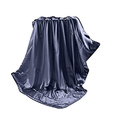 THXSILK Silk blanket, Silk Throws, Silk Blanket Cover, Sofa Throws-Ultra Soft, Hypoallergenic, Breathable -100% Top Grade Mulberry Silk, Travel/Toddler Size, Blue