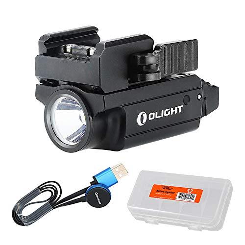 OLIGHT PL-Mini 2 Valkyrie 600 Lumen Rechargeable Ultra Compact Pistol Flashlight with Quick Detachable Adaptive Mount (Black)