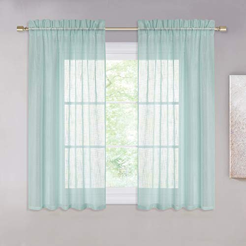 """NICETOWN Premium Linen Voile Curtains - Home Decoration Semi-Sheer Window Treatments Panels for Children Room (Ocean Wave, Each Panel 52"""" Wide by 45"""" Long, 1 Pair)"""