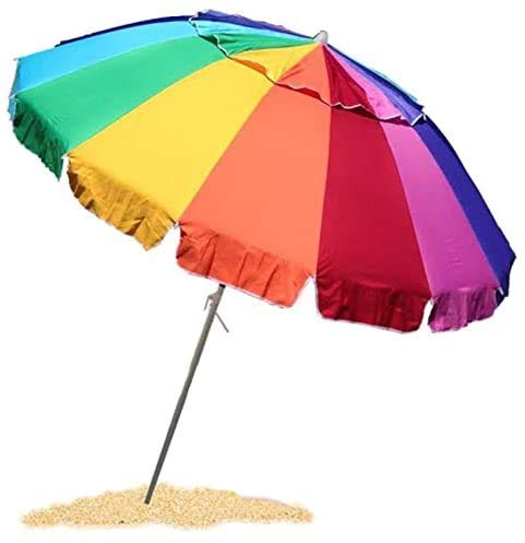EasyGo 8 Foot Heavy Duty HIGH Wind Beach Umbrella - Giant 8' Beach Umbrella with Sand Anchor & Carrying Bag -Sturdy Pole and Thicker Fiberglass Ribs for...