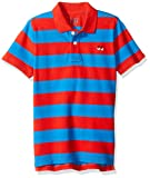 LOOK by crewcuts - Polo a maniche corte da ragazzo, Red/Blue Stripe, 14