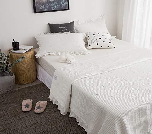 Lanqinglv Rüschen Tagesdecke 200x230 cm Bettüberwurf Baumwolle 100prozent Weiß Sterne Muster Tagesdecke Quilt mit Kissenbezug Set Gesteppt Steppdecke Doppelbett
