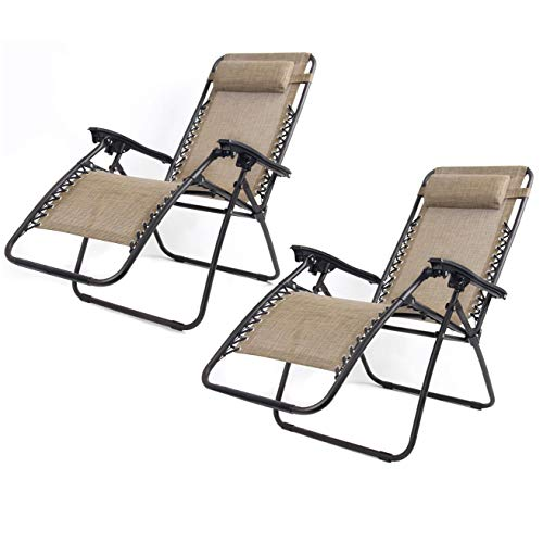 YXYH Comfortable 2 Set Of Folding Sun Lounger Recliners, Zero Gravity Chairs Adjustable Lazy High-Back Chair Solid Metal Beach Patio Garden Camping Outdoor Firm (Color : Beige)