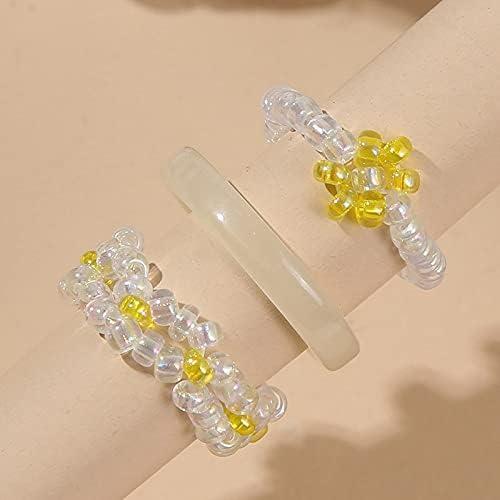 shop hongruida 3 Pcs Set Bohemian Female Ha White Acrylic Glass Gorgeous Beads