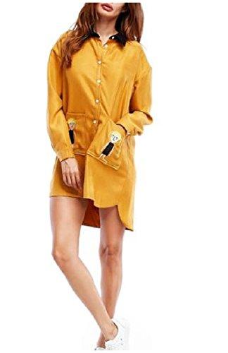 DressUWomen Damen einreiher langarm leger bluse tops One Size Gelb