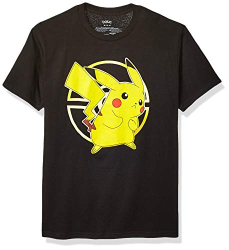Pokemon Unisex-Erwachsene Gold Pokeball Pikachu Active T-Shirt, schwarz, Groß