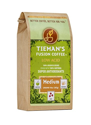 Tieman's Fusion Coffee, Low Acid Medium Roast, Ground, 10-Ounce Bag