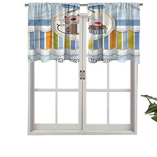 Hiiiman Fashion Design Cenefa térmica aislada ventana paneles bebé gato con pastel, juego de 1, 132 x 45 cm para habitación de niños