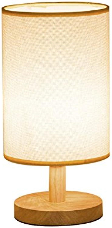 Einfache Massivholz Tischlampe Naturholz Basis Leinenstoff Schatten Licht Tischlampe Schlafzimmer Nachttischlampe Wohnzimmer Leselampe