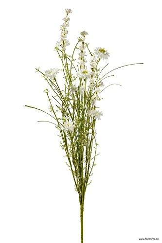 Wiesenblume Künstlich - Naturgetreu & Hochwertig - Länge: 60cm - Seidenblume/Dekoblume/Seiden Kunstblume - Sommerliche Tischdekoration/Kunstpflanze (Weiß)