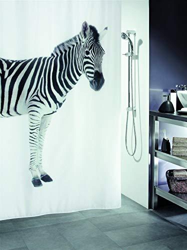 Spirella Zebra Black Duschvorhang 180 x 200cm. (Breite x Höhe), schwarz & weiß