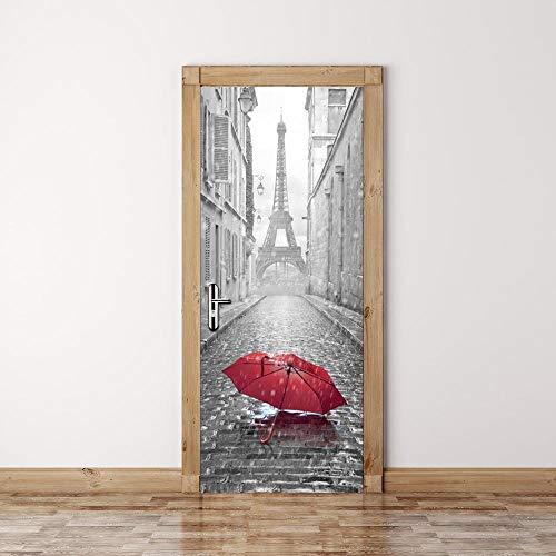 BXZGDJY 3D Türaufkleber Schlafzimmer Türen Renovierung Wasserdichte Tür Aufkleber Einfache Wohnzimmer Wandaufkleber Tapetensticker Fensterbild Wandaufkleberturm Roten Regenschirm 77X200Cm