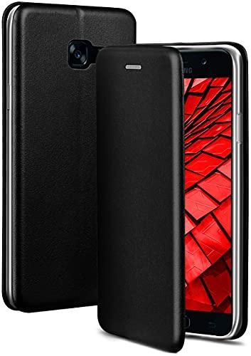 ONEFLOW Handyhülle kompatibel mit Samsung Galaxy A5 (2017) - Hülle klappbar, Handytasche mit Kartenfach, Flip Hülle Call Funktion, Leder Optik Klapphülle mit Silikon Bumper, Schwarz