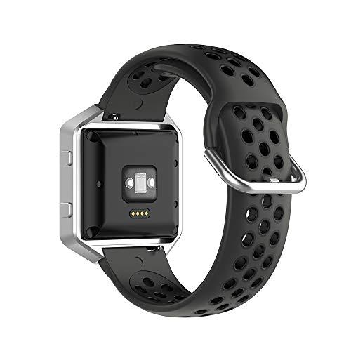 KINOEHOO Correas para relojes Compatible con Fitbit Versa/Versa 2/ Versa Lite/Blaze Pulseras de repuesto.Correas para relojesde siliCompatible cona.(negro)