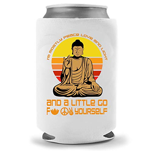 Funny Buddha Spirit Beer Coolies - Gag Party Gift Beer Can Cooler | Funny Joke Drink Can Cooler | Beer Soda Beverage Holder - Craft Beer Gifts - Quality Neoprene Insulated Can Cooler (Buddha F$k)