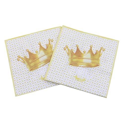 Amosfun 40pcs Druckserviette schöne goldene Krone Serviette für Geburtstagsfeier (weiß)