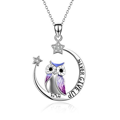 YFN Owl eulen Halskette Inspirierender Schmuck Sterling Silber Geben Sie Niemals auf Eulengeschenke Moon Star Halskette für Frauen Girlsr