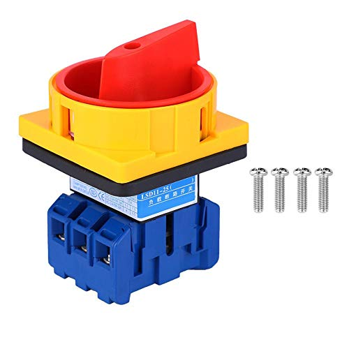 Interruptor de cambio de 25 A 600 V D11-25 A 6 terminales, interruptor de cambio giratorio de 2 posiciones, interruptor de cambio de combinación de leva