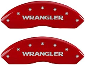 MGP Caliper Covers 42007SWRGRD 'WRANGLER' Engraved Caliper Cover with Red Powder Coat Finish and Silver Characters, (Set of 4)