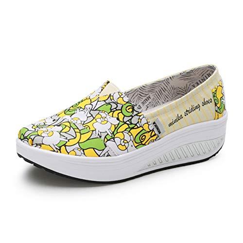 Zapatos Creepers de Lona para Mujer Ropa de Calle Caminar Informal Poco Profundo Primavera Otoño Moda Resbalón en los Zapatos de Plataforma cómodos para Usar