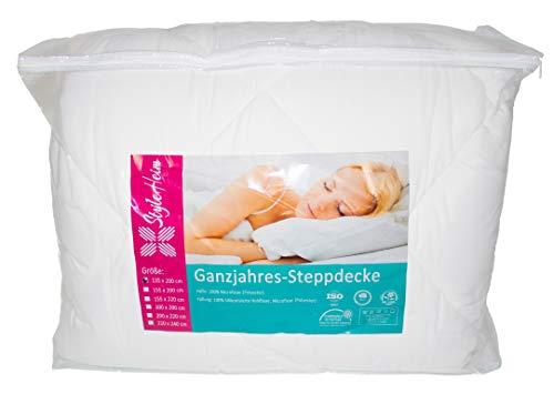 Style Heim Bettdecke 220x240 cm XXL Microfaser Decke Steppdecke 3390g Füllung Schlafdecke Ganzjahresdecke Jahreszeiten Sommer Winter Oeko-Tex Zertifiziert, Weiß
