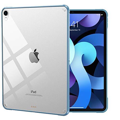iPad Air4 ケース 2020 「Touch ID対応」 Dadanism iPad 10.9 ケース iPad 10.9インチ カバー アイパッド エア 第4代 保護カバー 四角加固 擦り傷防止 ビジネスケース 薄型 衝撃吸収 TPU縁 背面PCハードケース 透明背面カバー Apple Pencil2充電に トワイライトブルー