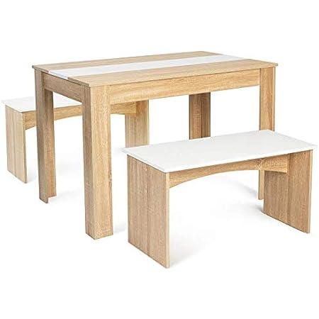 IDMarket - Ensemble Table à Manger 110 cm et 2 bancs ROZY 4 Personnes hêtre et Blanc