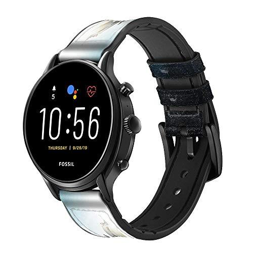 Innovedesire Giant Octopus Smart Watch Armband aus Leder und Silikon für Fossil Mens Gen 5E 5 4 Sport, Hybrid Smartwatch HR Neutra, Collider, Womens Gen 5 Größe (22mm)