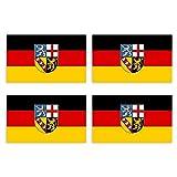 KIWISTAR Aufkleber 4,5 x 3 cm Saarland - Bundesland Autoaufkleber Deutschland Flagge Länder Wappen Fahne Sticker Kennzeichen