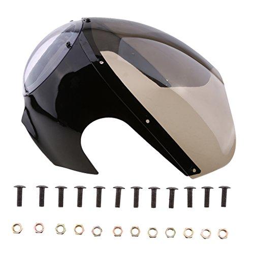 KESOTO Motorcycle Racer Fairing Cafe Racer Retro Faros Delanteros Parabrisas Negro Brillante