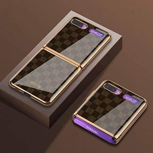 SHIEID Funda para Samsung Galaxy Z Flip 5G Funda con [Anti Choques]+[Anticaída], Carcasa de Vidrio Templado Multicolor, Carcasa para Samsung Galaxy Z Flip 5G-Ajedrez Marrón