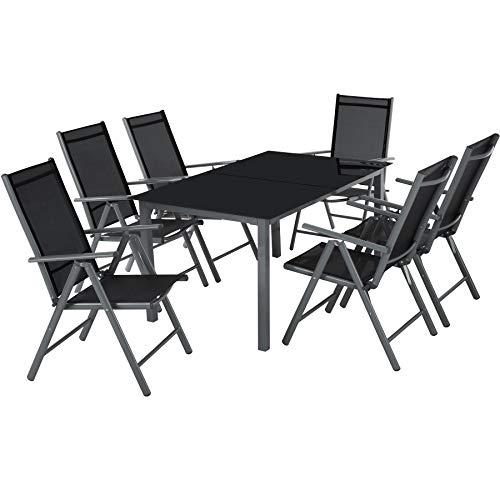 tectake 800355 Aluminium 6+1 Salon de Jardin Ensemble Sièges Meubles Chaise Table en Verre Gris Foncé (Gris foncé | No. 402166)