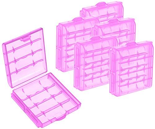 com-four® 6X Batteriebox aus Kunststoff - Aufbewahrungsbox für Batterien und Akkus - Akkubox für AA und AAA (06 Stück - Lila)