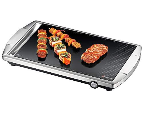 ROMMELSBACHER Ceran Grill CG 2303/E - Made in Germany, Ceran Grillfläche, Temperaturen bis 380 °C stufenlos einstellbar, versenkbarer Knebel, Fettablaufrinne, Edelstahlgehäuse, 2000 Watt