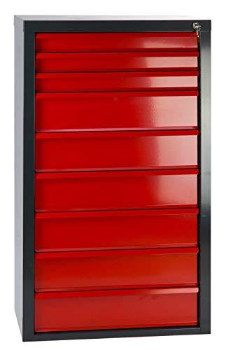 Werkstatt-Schubladenschrank mit 9 Schubladen, BxTxH: 700x435x1200 mm, RAL 7016 Anthrazitgrau/RAL 3020 Feuerrot