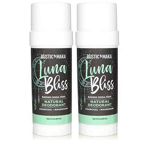 Rustic MAKA Natural Deodorant (Aluminum Free, Paraben Free, No Baking Soda Deodorant for Women, Activated Charcoal + Magnesium, Vegan, Cruelty-Free) - BUNDLE 2 Pack (Luna Bliss)