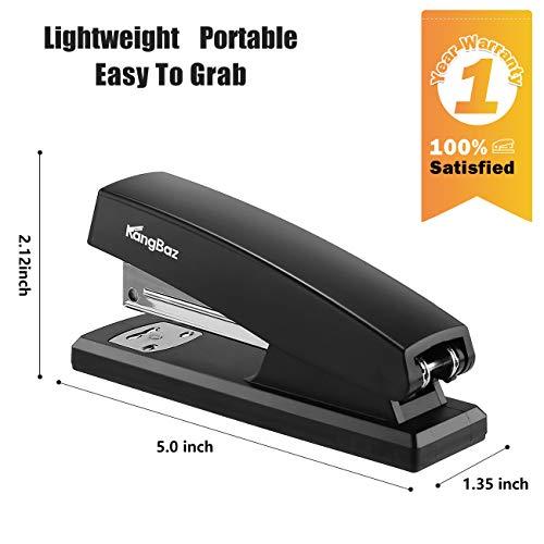 KangBaz Stapler, Office Stapler with 5000 Staples,Classic Desktop Stapler and White Steel Staples, 20 Sheet Capacity(26/6),1/4 inch Staples, Staples Standard,Jam Free,Non-Slip,Black Photo #4