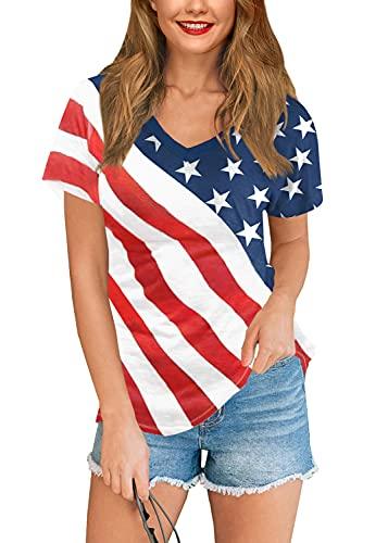 Womens July 4th Patriotic USA Flag T Shirts Short Sleeve Striped Stars Casual Top USA Flag M