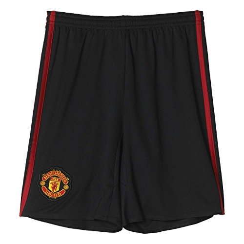 adidas Kinder Manchester United Torwart-Heimshorts Replica Fußballshorts, Black/Real Red, 176
