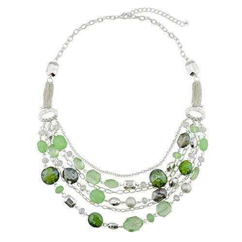Bocar, collana multistrato con catenine, smaltata e con cristalli colorati, per donna e nichel, colore: Light Green, cod. NK-10061