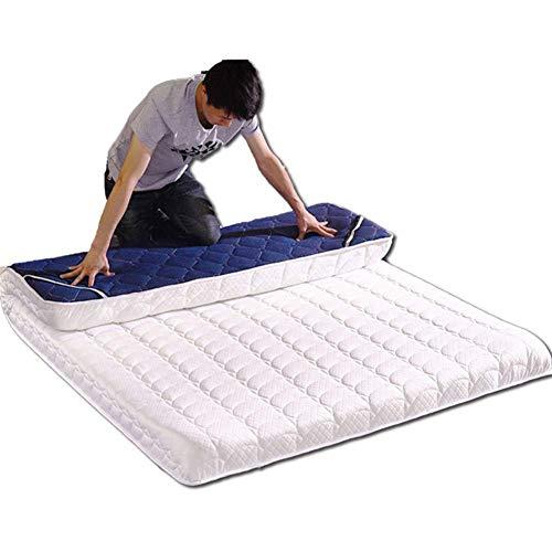 ZXYY Dik 10cm matras topper Simmons beschikbaar ultra-zachte tatami vloer futon matras opvouwbare Gewatteerde mat wit + blauw 180x200cm (71x79inch)