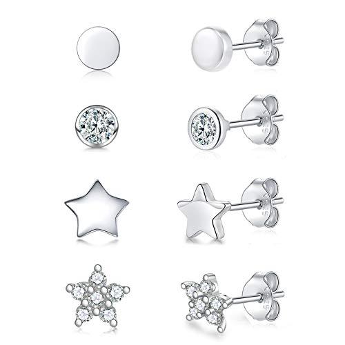 Pendientes de plata 925 para mujer, hombre y niña, juego de 4 pares de pequeños pendientes de plata | circonitas brillantes para dormir cartílago (3 mm/3 mm/4 mm/4 mm)