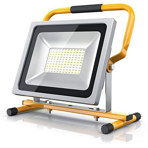 Brandson - Projecteur de chantier à LED 50W | Equivalent à 280W halogène| 4800 lumens | 120° faisceau lumineux | 6400K | Montage mural ou sur un support | IP65 | jaune