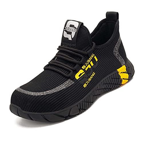 [S-JUBANG] 安全靴 軽量 通気性 メンズ レディースおしゃれ鋼先芯 作業靴 スリッポン 工事現場 通気性 鋼先芯 耐摩耗 防刺 耐滑スニーカー