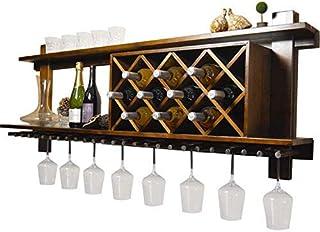 YZ-YUAN Support à vin Mural Durable avec Porte-gobelet Support de Verre Support de Verre étagères flottantes Bar Accessoir...