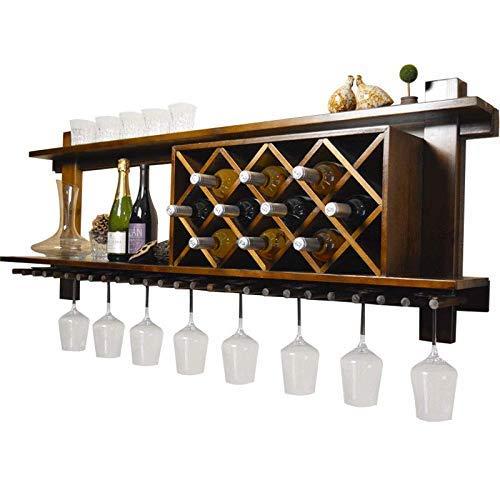 An der Wand montierter Weinhalter mit Becherhalter Weinregal Glashalter Schwimmende Regale Barzubehör Regal Holz Rustikal für 7 Flaschen für Küche/Bar/Restaurantregal