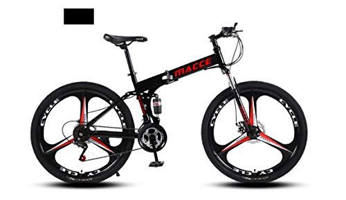 INFANDW Bicicleta de montaña Plegable 26 Pulgadas de Velocidad Variable Cross-Country Racing Doble Amortiguador Bicicleta para Hombres y Mujeres (Negro 3 Cuchillos)